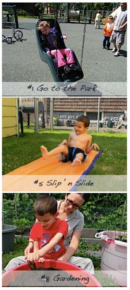 park, slip n slide and gardening summer activities