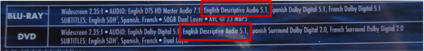 descriptive video on a video box