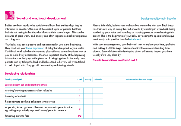 sample page from the Children with Visual Impairment Development Journal