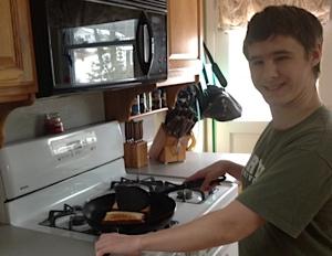 Aaron cooking