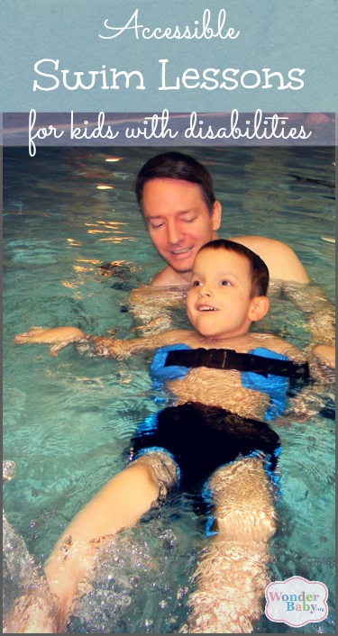 Ivan swimming with his dad