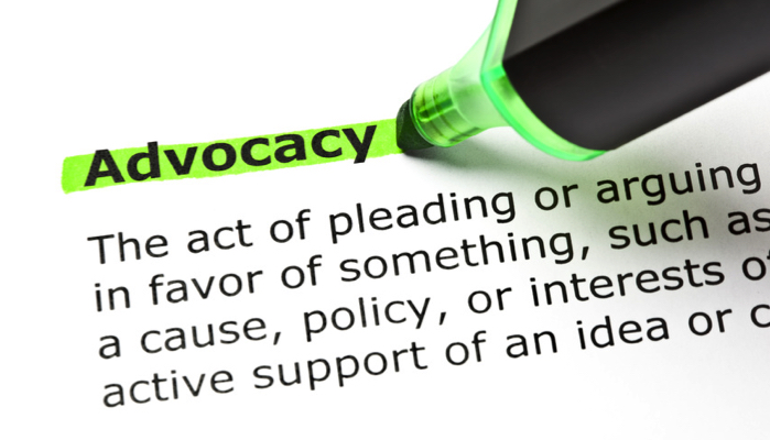 """The word """"advocacy"""" being highlighted by a green highlighter"""