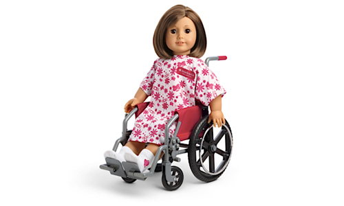 American Girl doll in her wheelchair