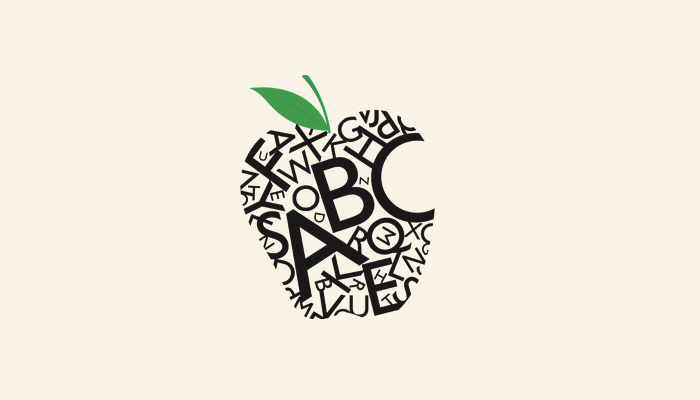 An apple made out of letters