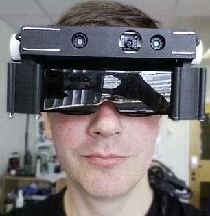 Man wearing headgear-like glasses