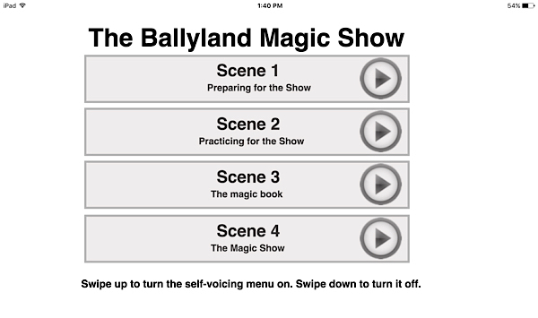 Ballyland Magic app main menu screen