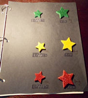foam star stickers on a page