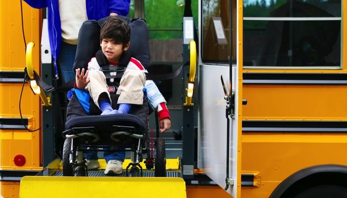 boy on a school bus