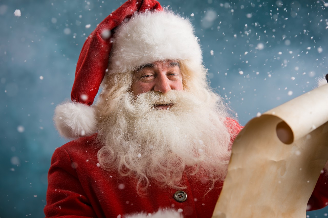Santa reading his list