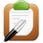 Clipboard and pen icon.