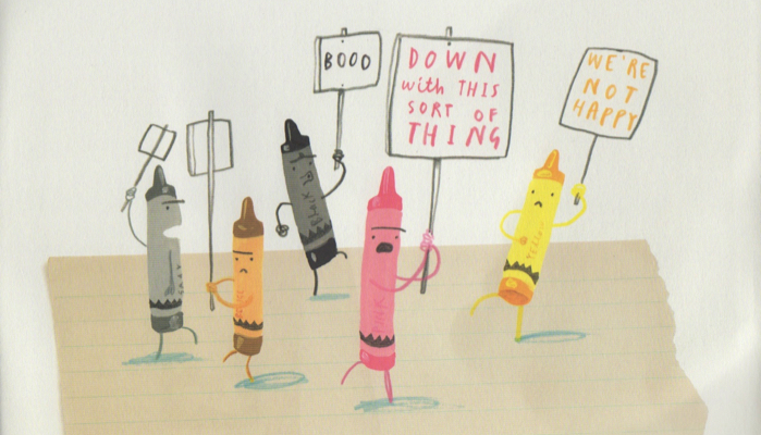 crayons in a picket line