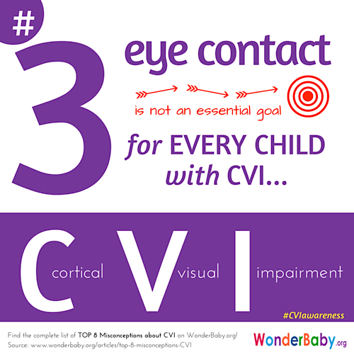 Children diagnosed with CVI rarely use eye contact because of the complexity of the skills needed to do so