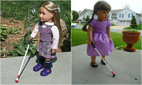 American Girl dolls with white canes