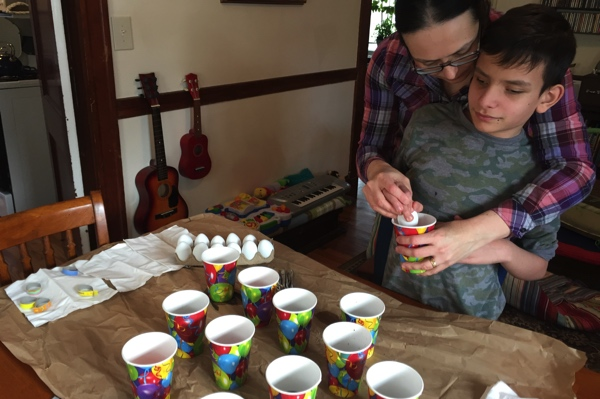 Placing eggs in the cups