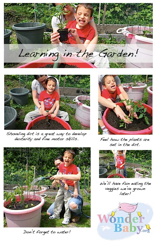 Gardening with a blind child