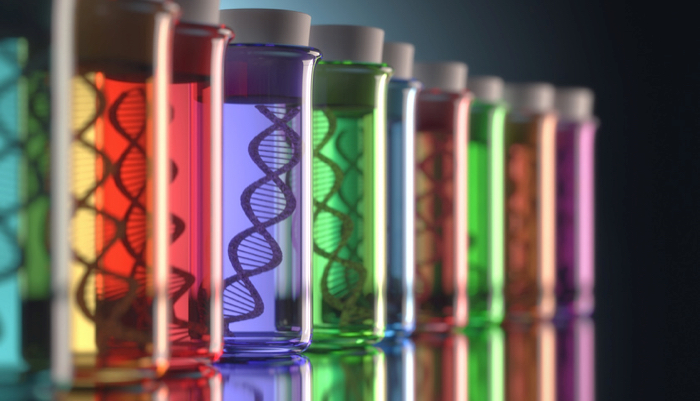 genetic codes in colorful test tubes