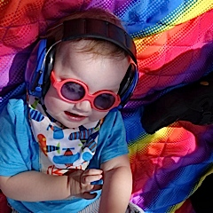 sunglasses and headphones, rocking out!