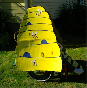 the bee hive attached to the wheelchair