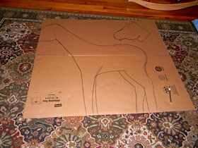 drawing the horse on the cardboard box