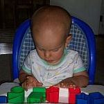 Ivan playing with his blocks.