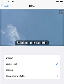 screenshot of iPad captions options in settings