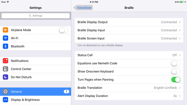 screenshot of braille settings on the iPad
