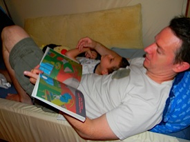 Daddy reading Goodnight Moon to Ivan