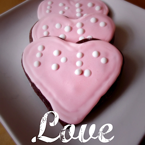 print and braille 'love' heart shaped cookies
