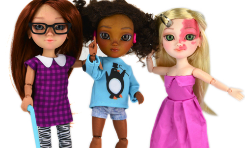 Makies dolls with glasses, canes and hearing aids