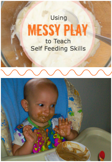 Using Messy Play to Teach Self Feeding Skills