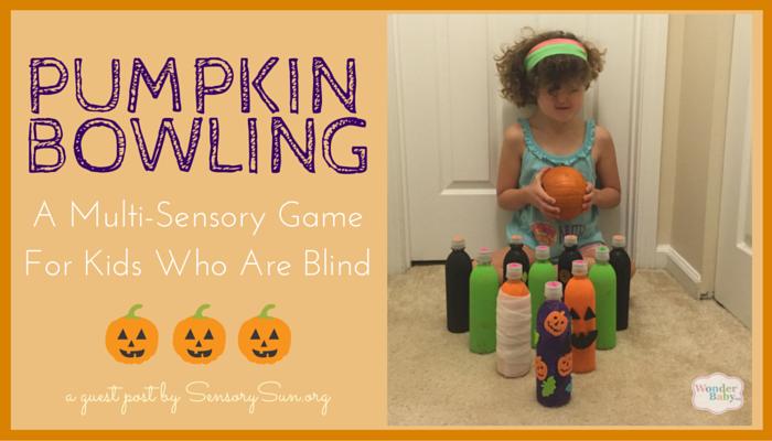 girl sits with pumpkin. text reads pumpkin bowling sensory game