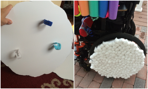 making the clouds for our wheelchair costume