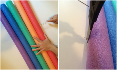 making the rainbow for our wheelchair costume
