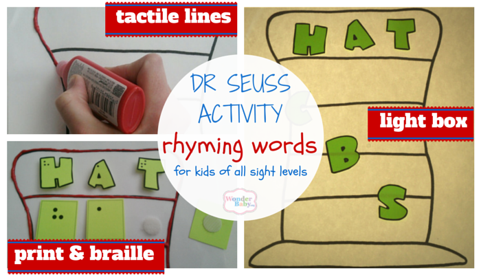 Literacy activity: rhyming words for kids of all sight levels using tactile image, print and braille, and a light box.