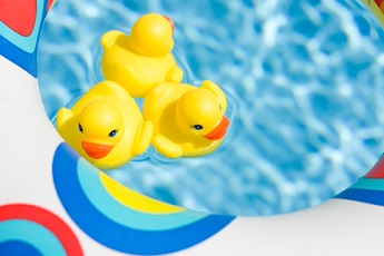 Rubber duckies floating in a pool