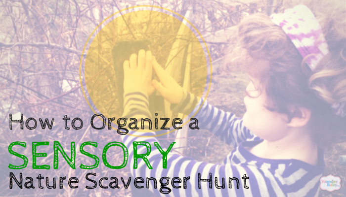 How to Organize a Sensory Nature Scavenger Hunt with little girl touching a post in background.