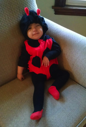 Shelby dressed up as a ladybug