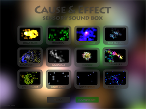 Screenshot of Sensory Sound Box home page