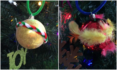 tactile ornaments made with feathers, foam stickers and pipe cleaners