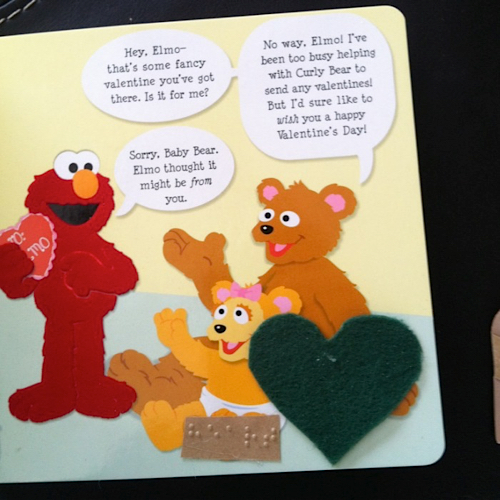 page of Elmo tactile book