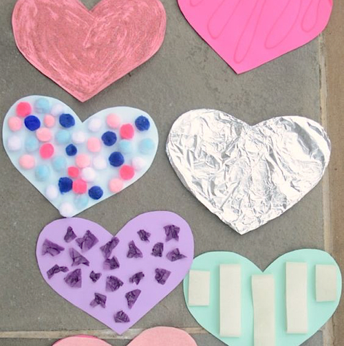 paper heart cutouts with textures