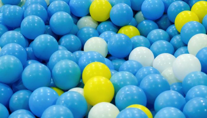 blue, white and yellow balls