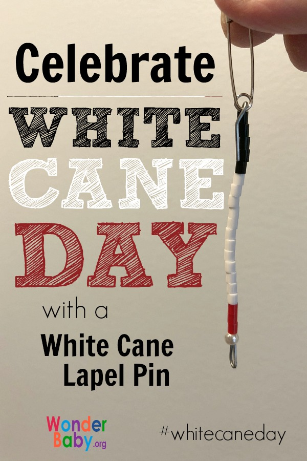 Celebrate White Cane Day with a white cane lapel pin