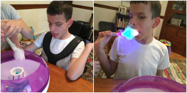 Ivan enjoying making cotton candy