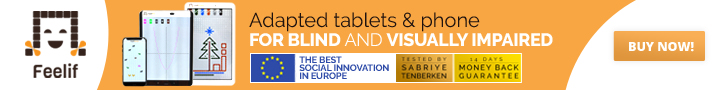 Adapted tablets and phone for blind and visually impaired